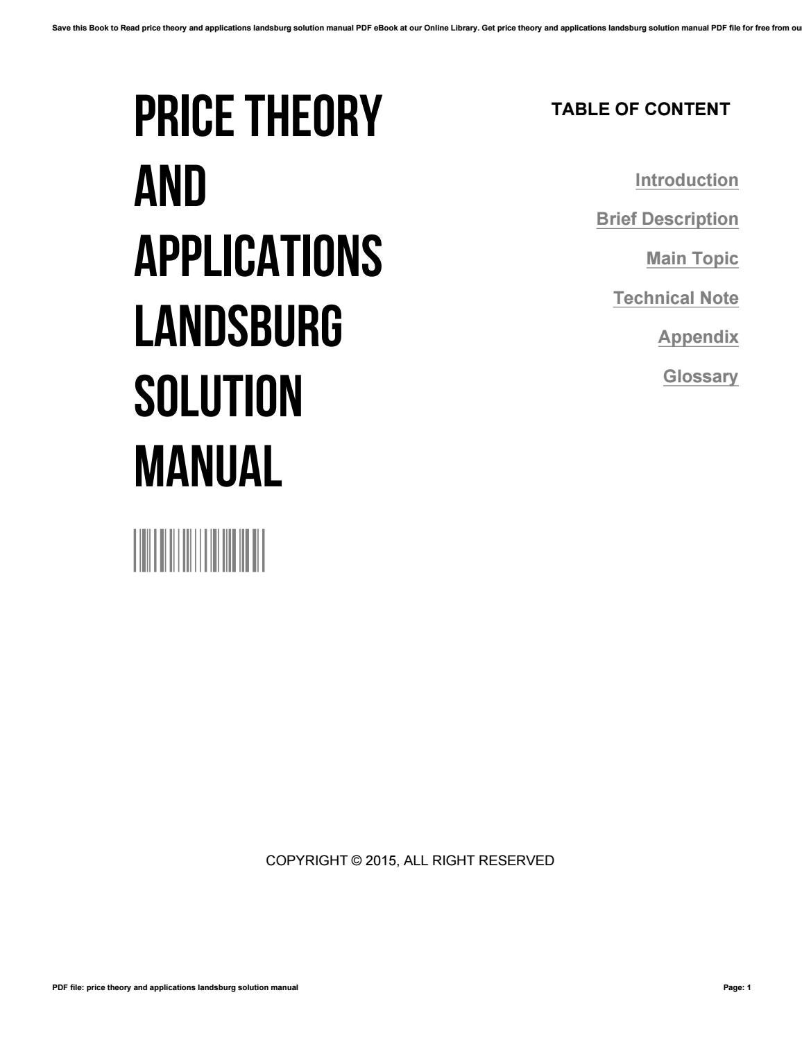 Price theory and applications landsburg solution manual by