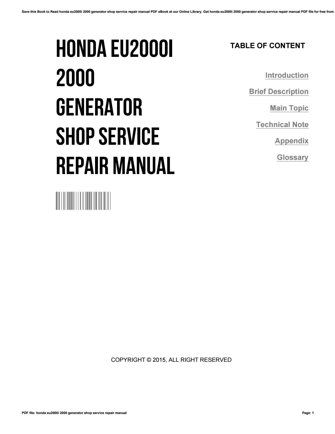 Honda eu2000i 2000 generator shop service repair manual by