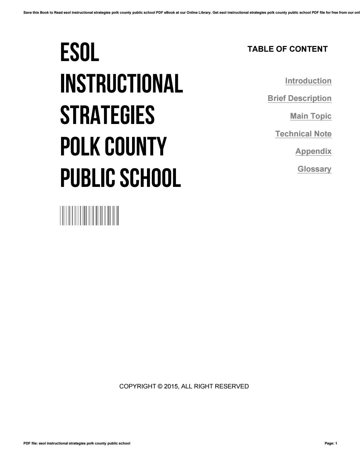 Esol instructional strategies polk county public school by