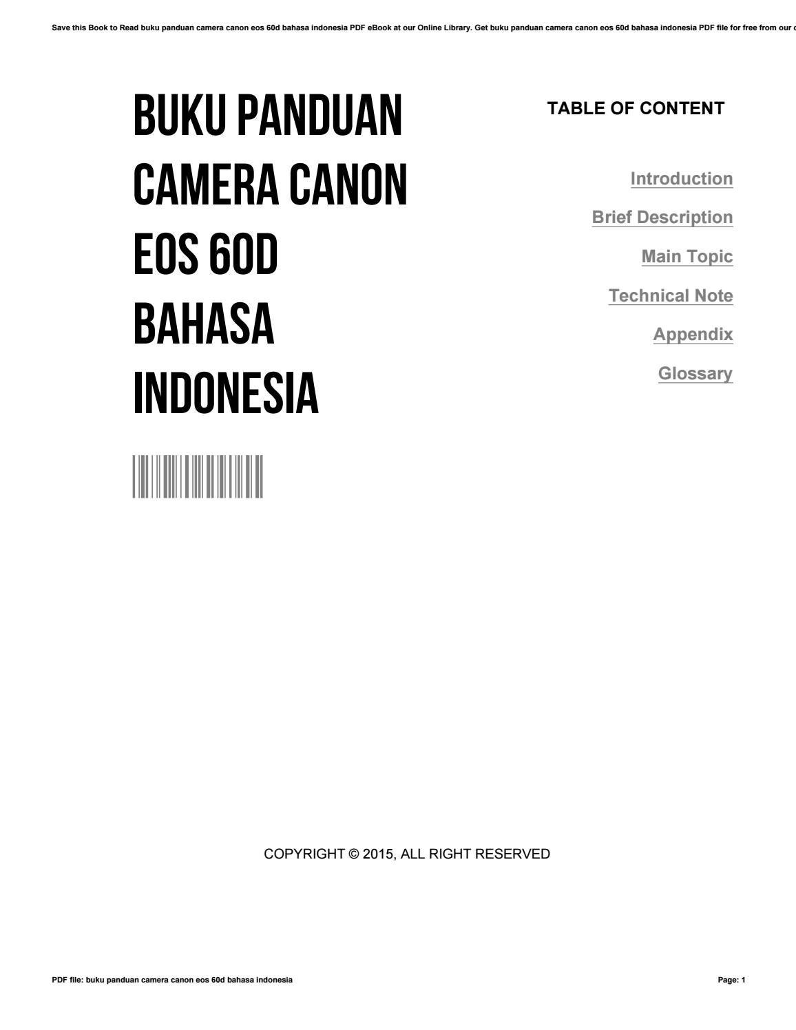 Buku panduan camera canon eos 60d bahasa indonesia by