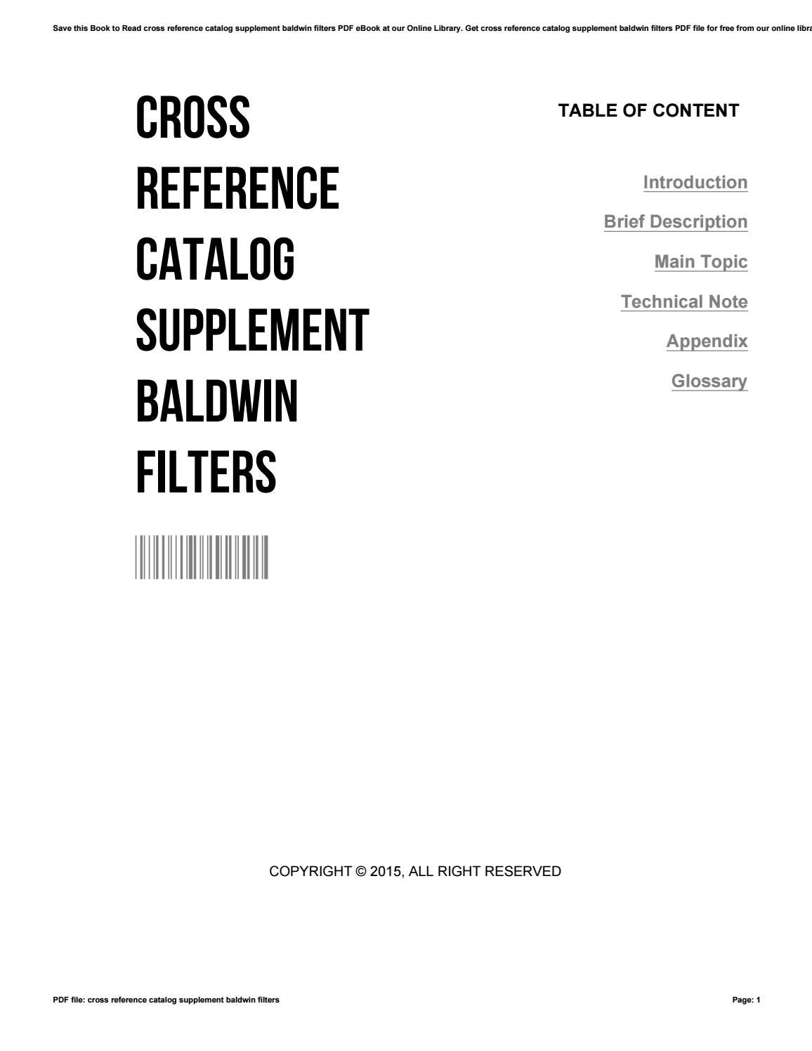 Cross reference catalog supplement baldwin filters by