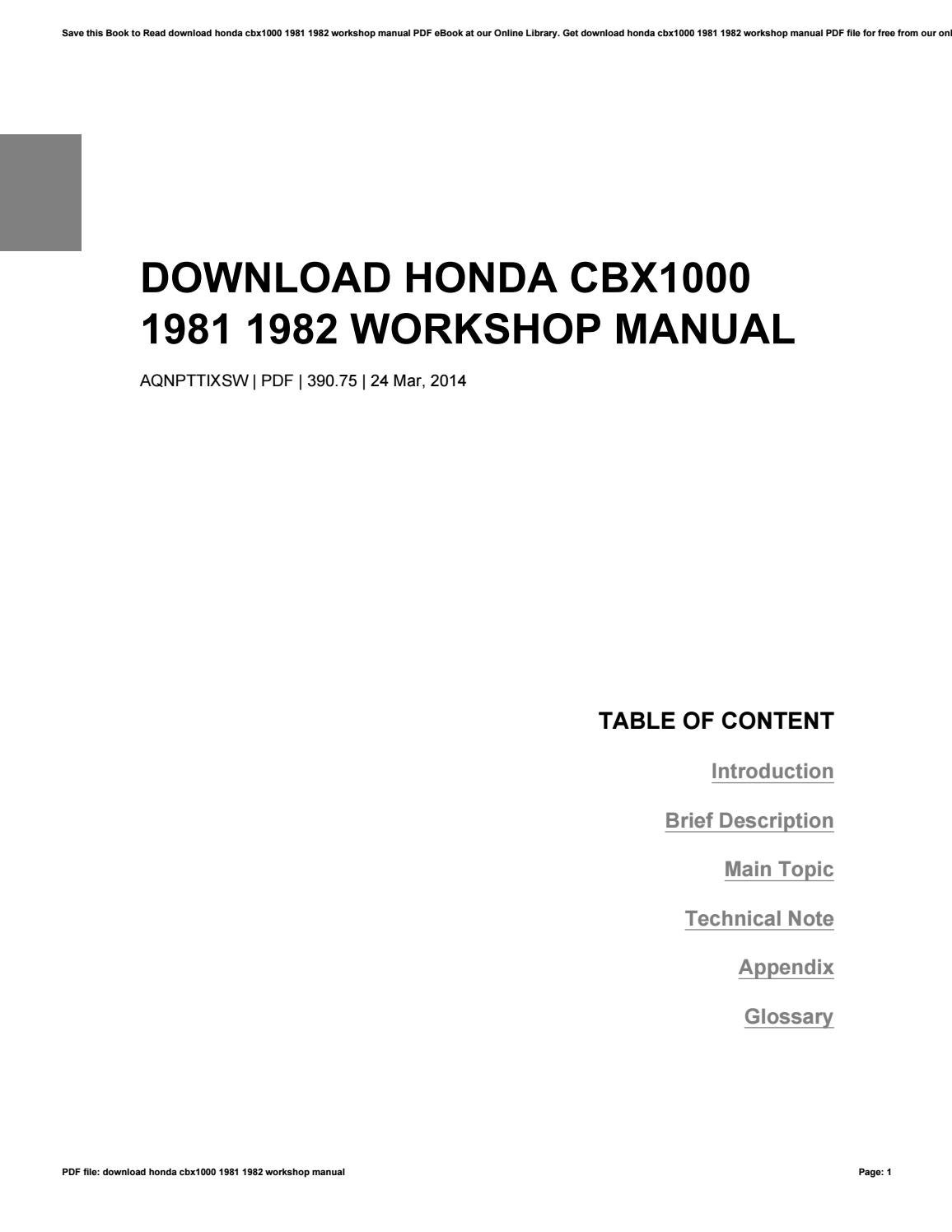 Download honda cbx1000 1981 1982 workshop manual by