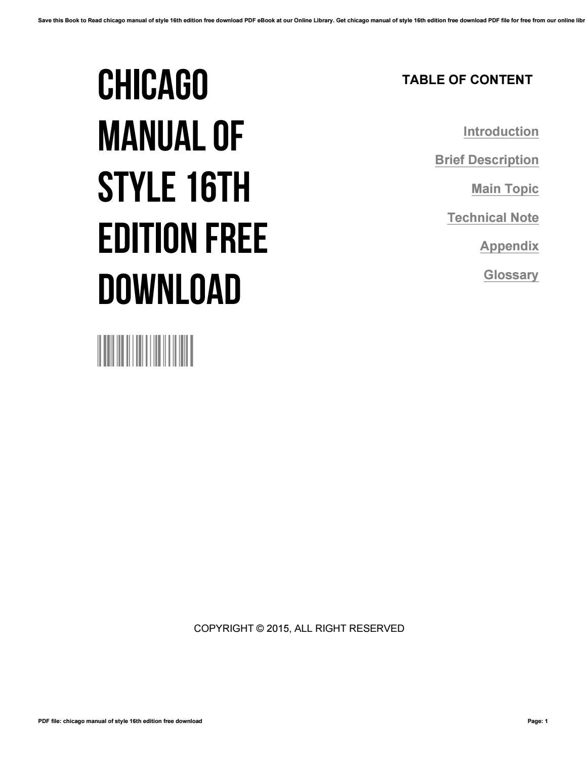 Chicago manual of style 16th edition free download by