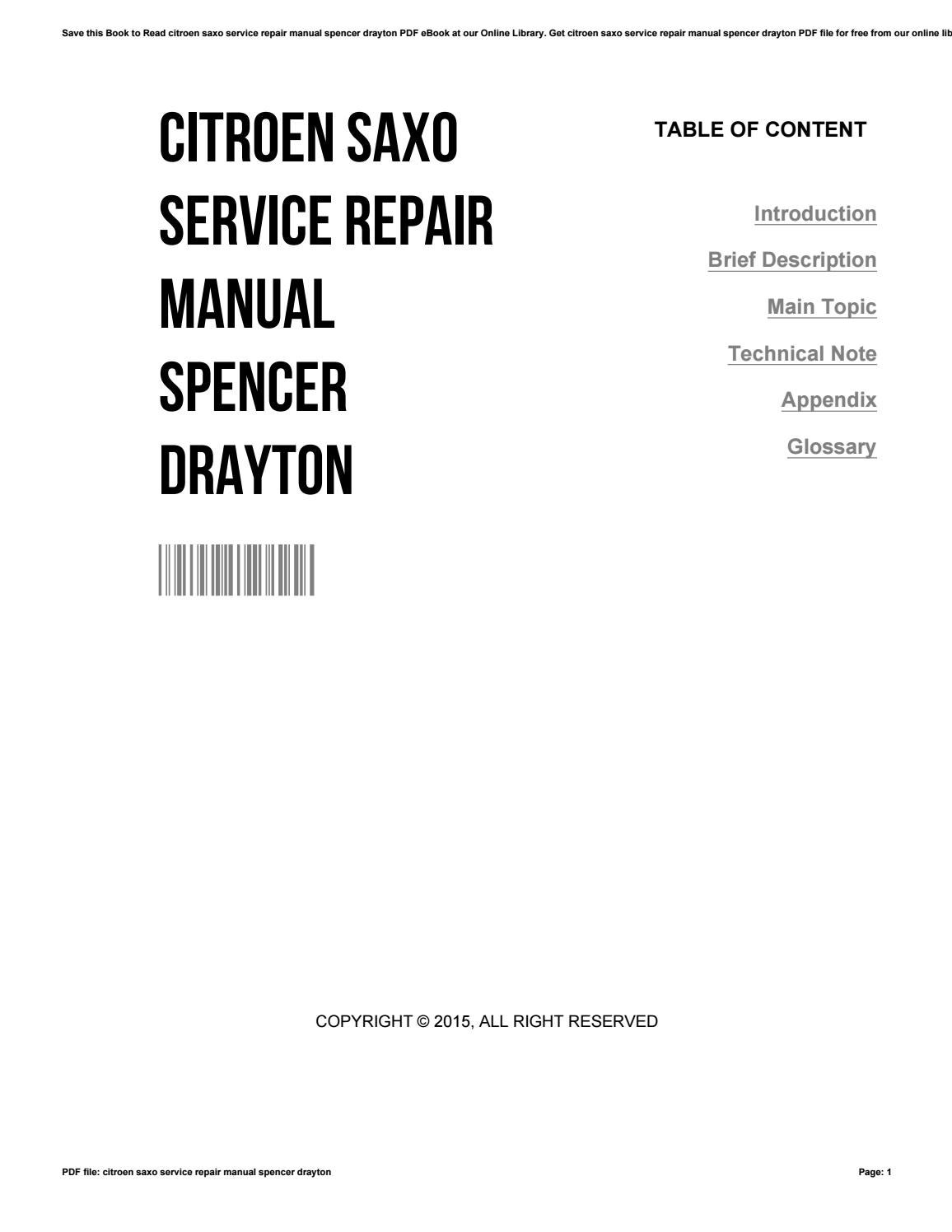 Citroen saxo service repair manual spencer drayton by