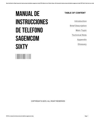 Manual de instrucciones de telefono sagemcom sixty by