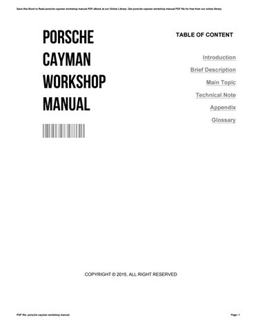Porsche cayman workshop manual by FrederickOttinger3005