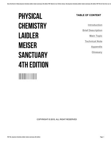 Physical chemistry laidler meiser sanctuary 4th edition by