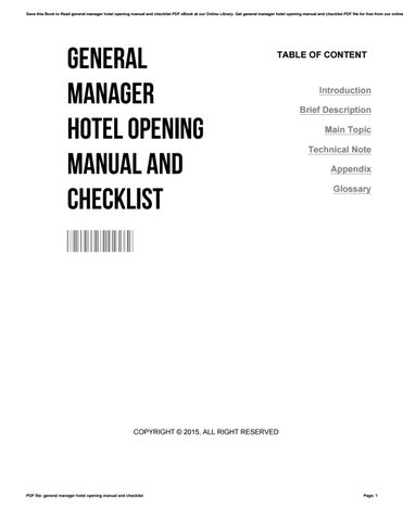 General manager hotel opening manual and checklist by