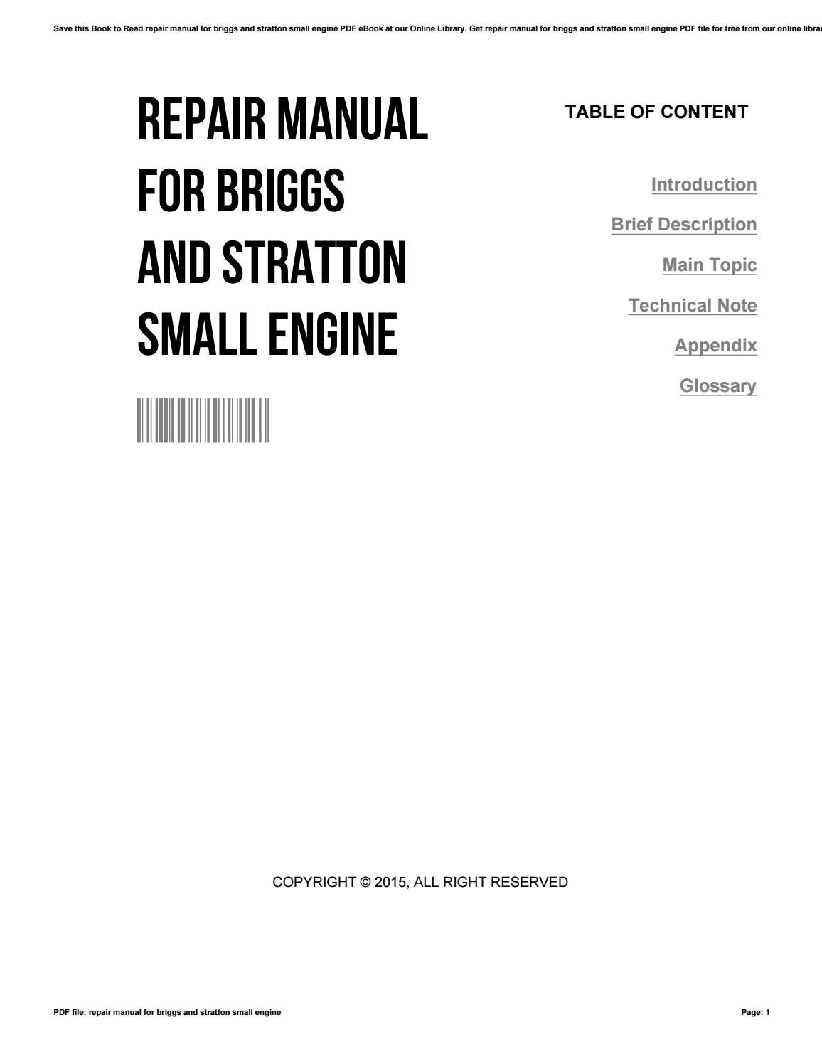 Repair manual for briggs and stratton small engine by