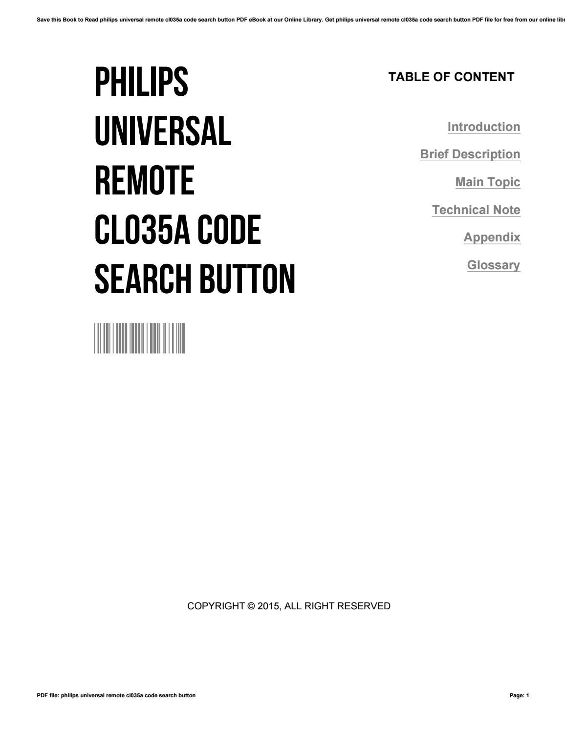 Philips universal remote cl035a code search button by
