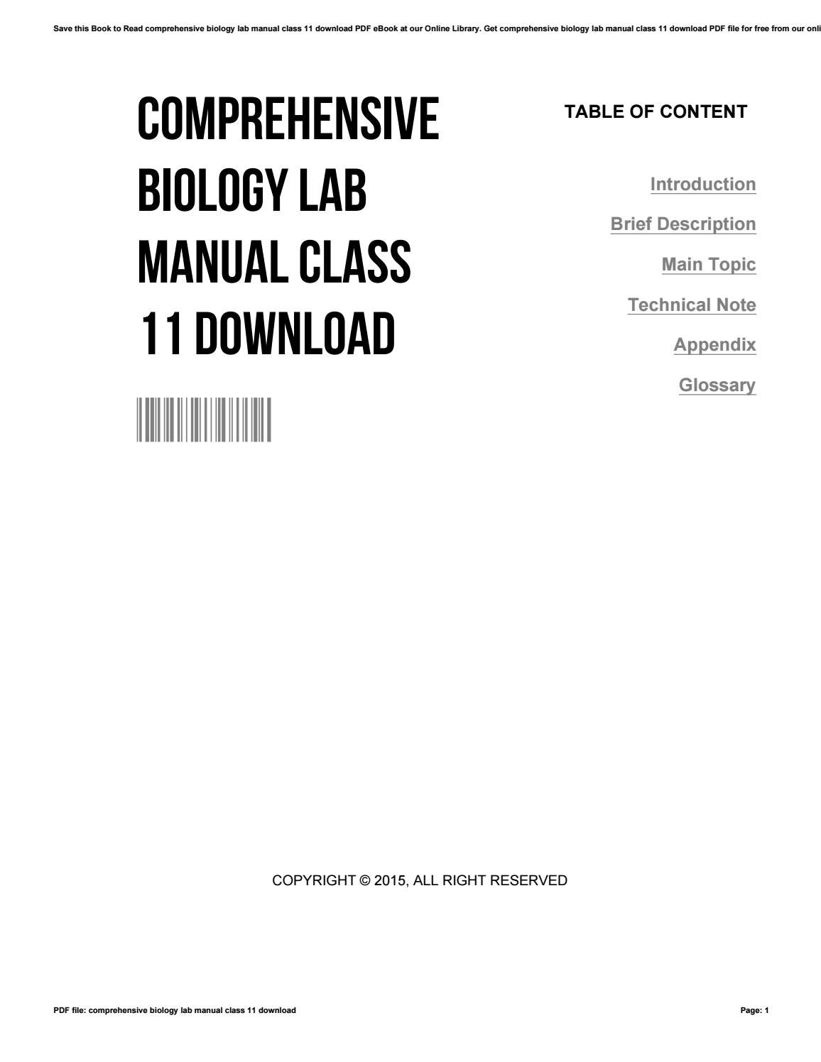 Comprehensive biology lab manual class 11 download by