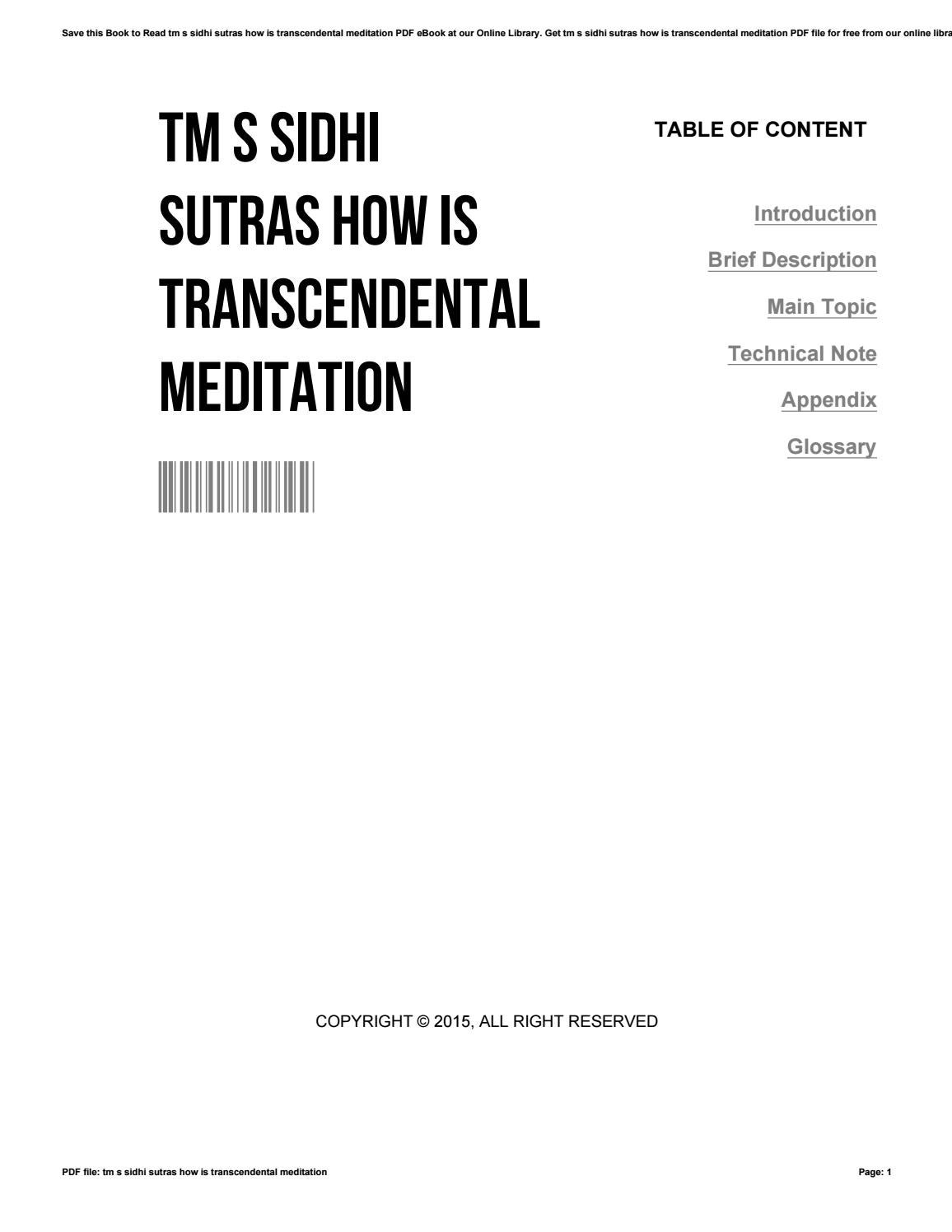Tm s sidhi sutras how is transcendental meditation by