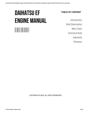 Daihatsu Ef Engine Manual By Robertojones4738 Issuu