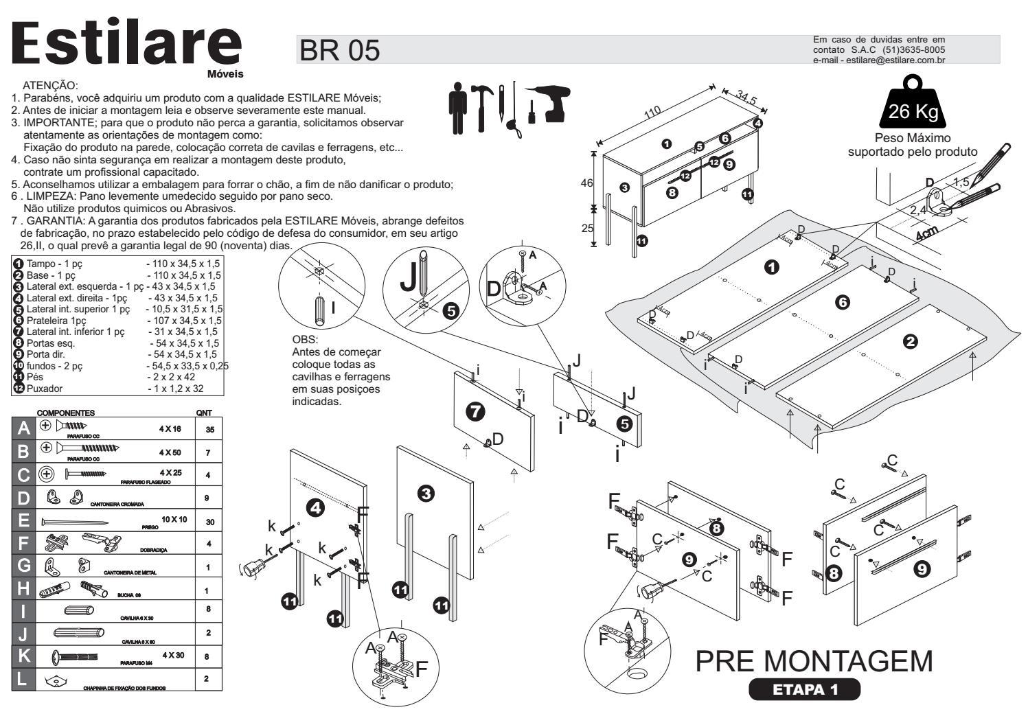Manual de Montagem Armário Multiuso Atlanta de Madeira 2