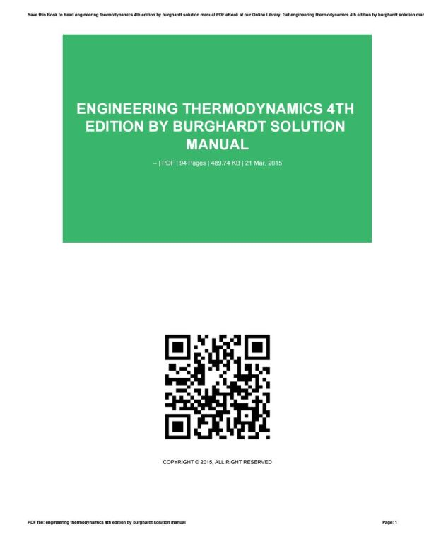 Engineering Thermodynamics 4th Edition Burghardt