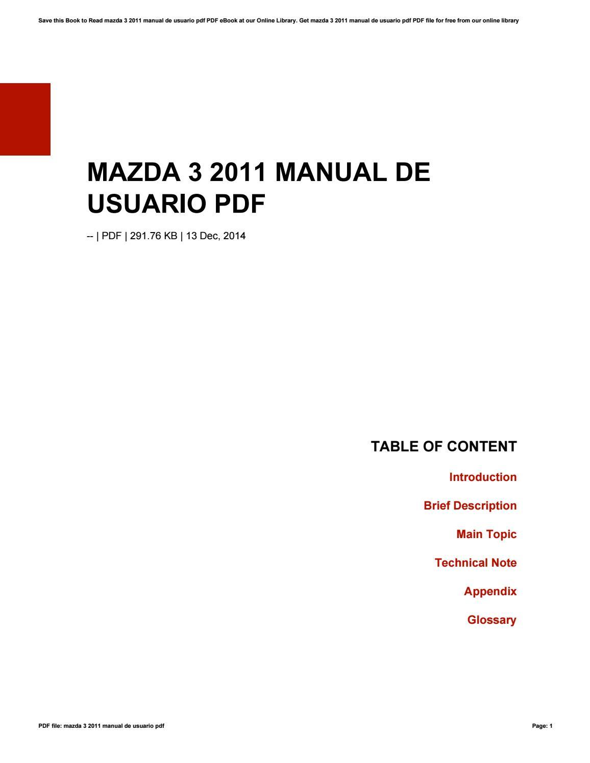 Mazda 3 2011 manual de usuario pdf by WalterStrecker1295