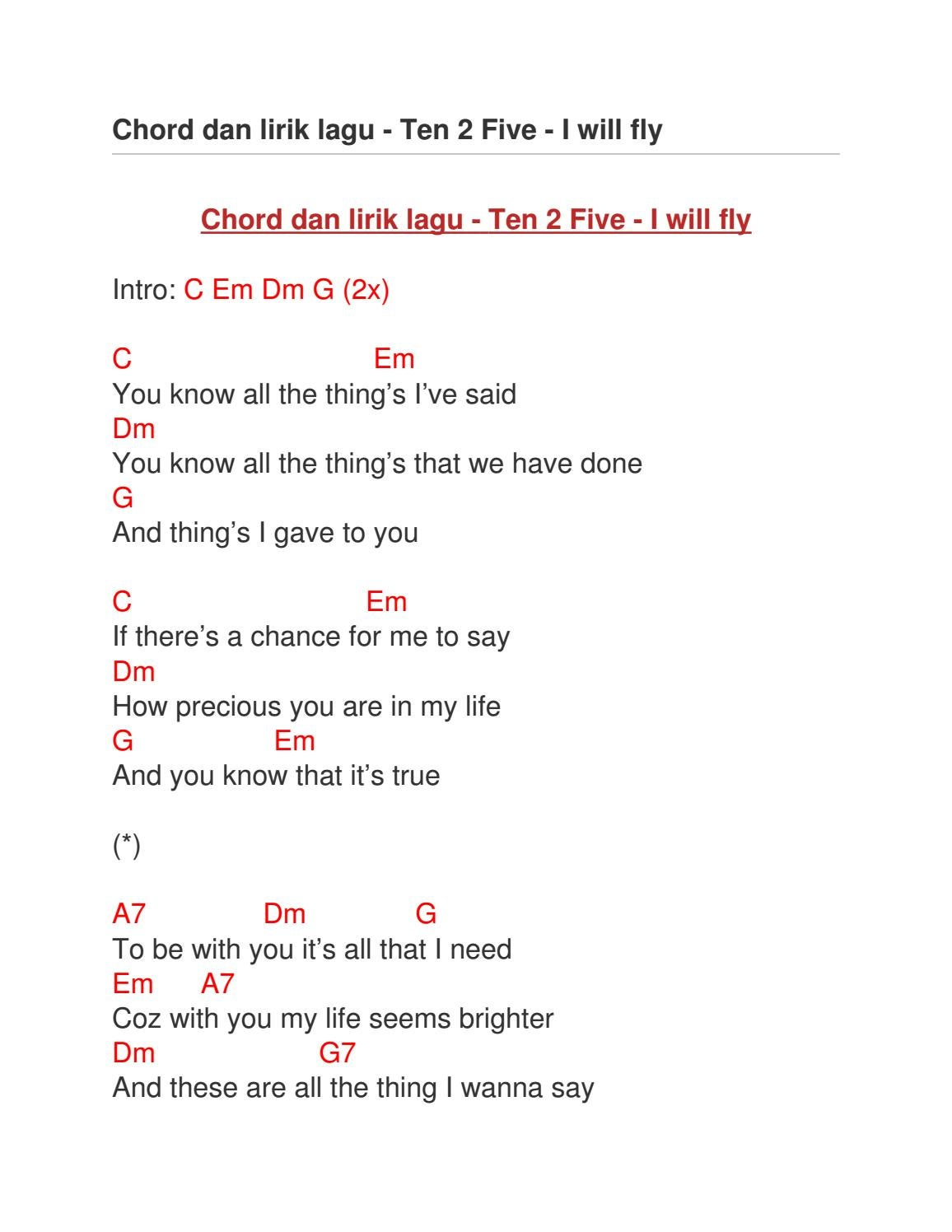 Ten 2 Five You Chord : chord, Chord, Lirik, Issuu