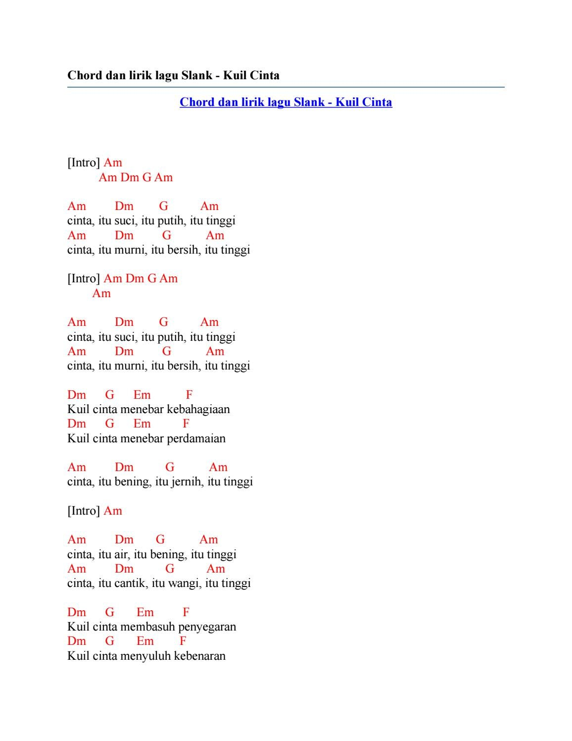 Chord Slank Terlalu Pahit : chord, slank, terlalu, pahit, Chord, Slank, Cinta