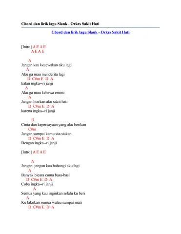 Orkes Sakit Hati Lirik : orkes, sakit, lirik, Chord, Lirik, Slank, Orkes, Sakit, Issuu