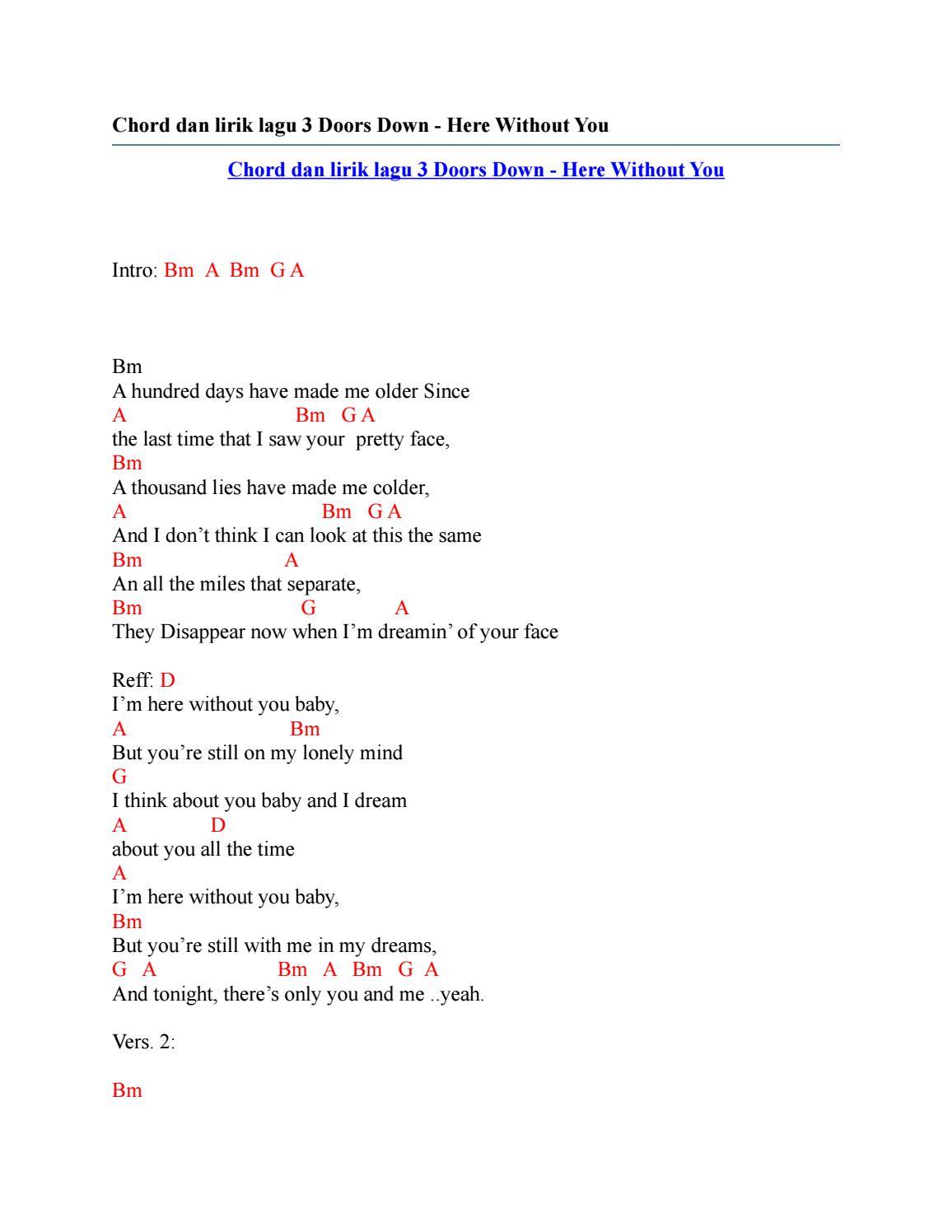 3 Doors Down - Here Without You Lyrics | AZLyrics.com