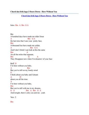 Lirik Lagu Here Without You : lirik, without, Chord, Lirik, Doors, Without, Issuu