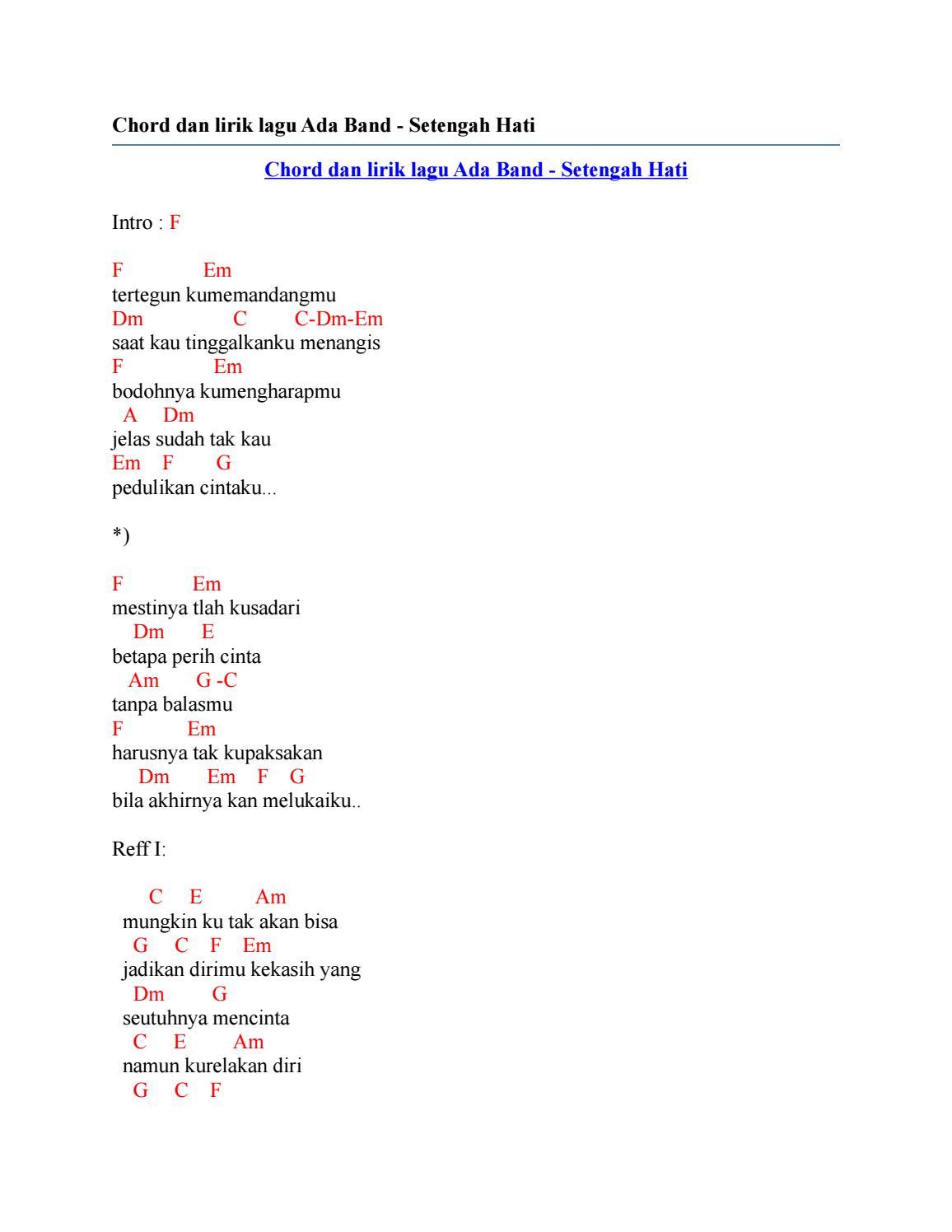 Setengah Hati Chord : setengah, chord, Chord, Lirik, Setengah, Issuu