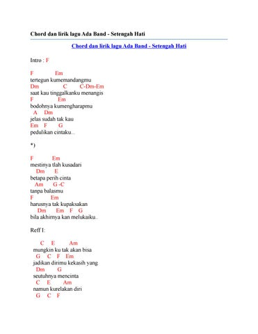 Chords for Setengah Hati - ADA Band Cover By Indah Aqila