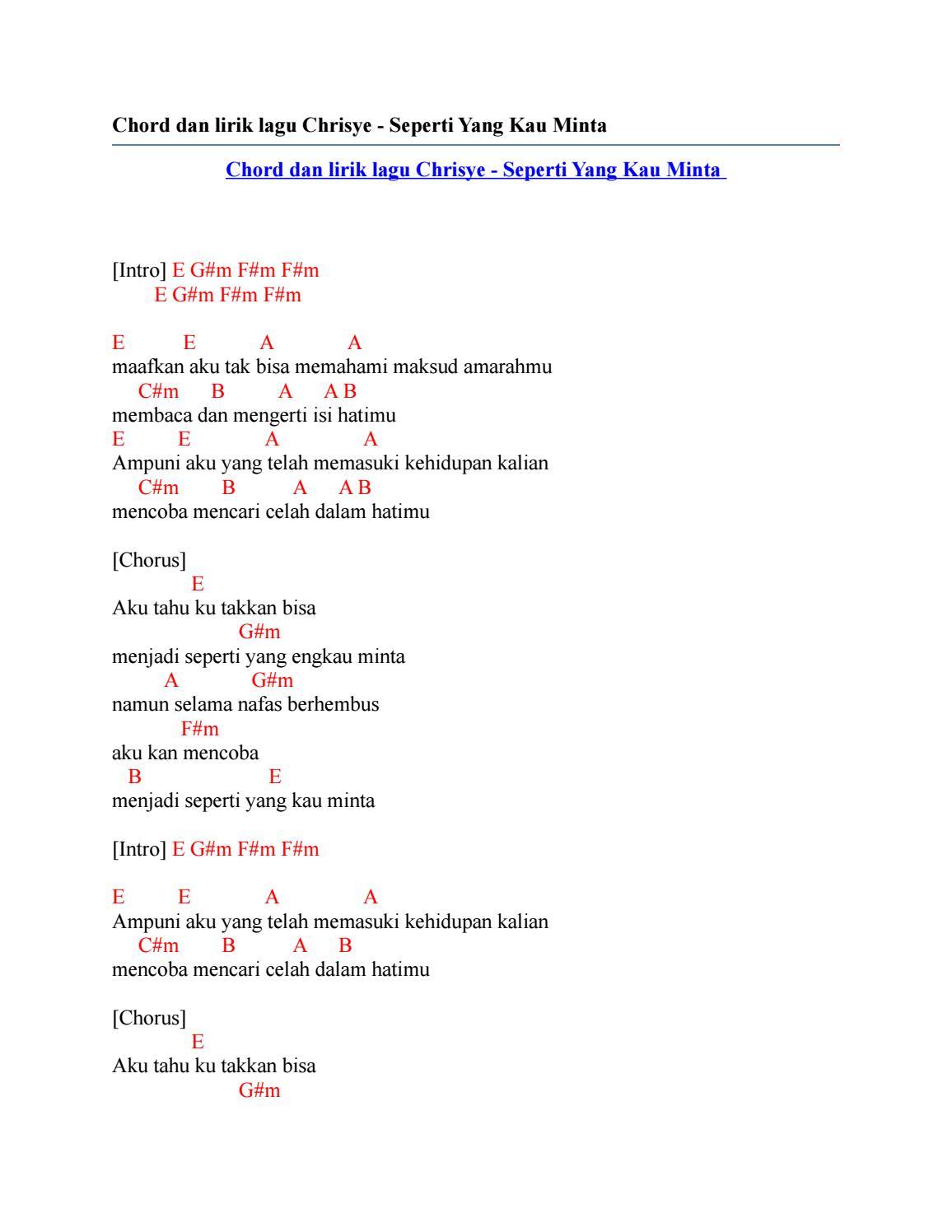 Chrisye - Seperti Yang Kau Minta Lyrics | Genius Lyrics