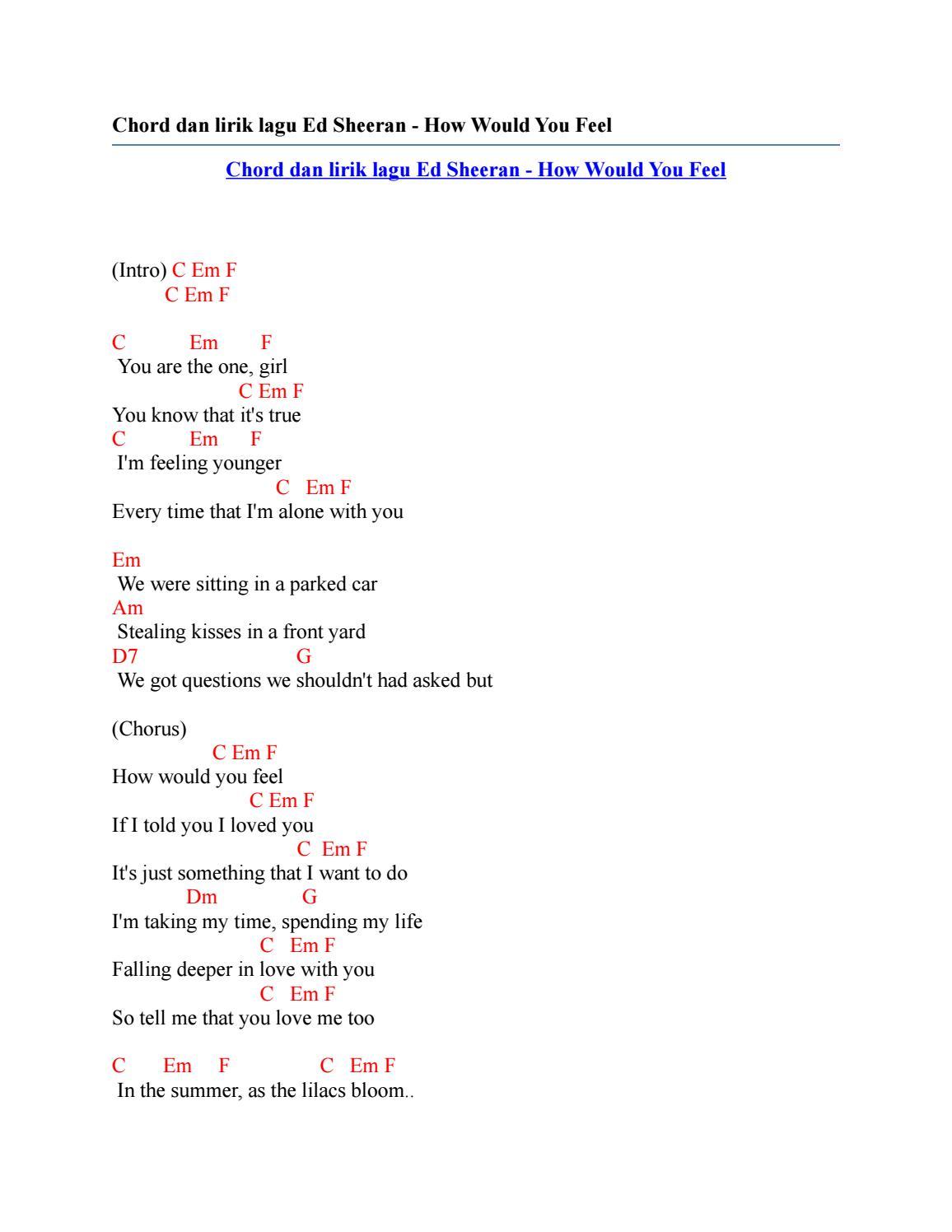 Lirik Lagu Ed Sheeran How Would You Feel : lirik, sheeran, would, Chord, Lirik, Sheeran, Would, Issuu