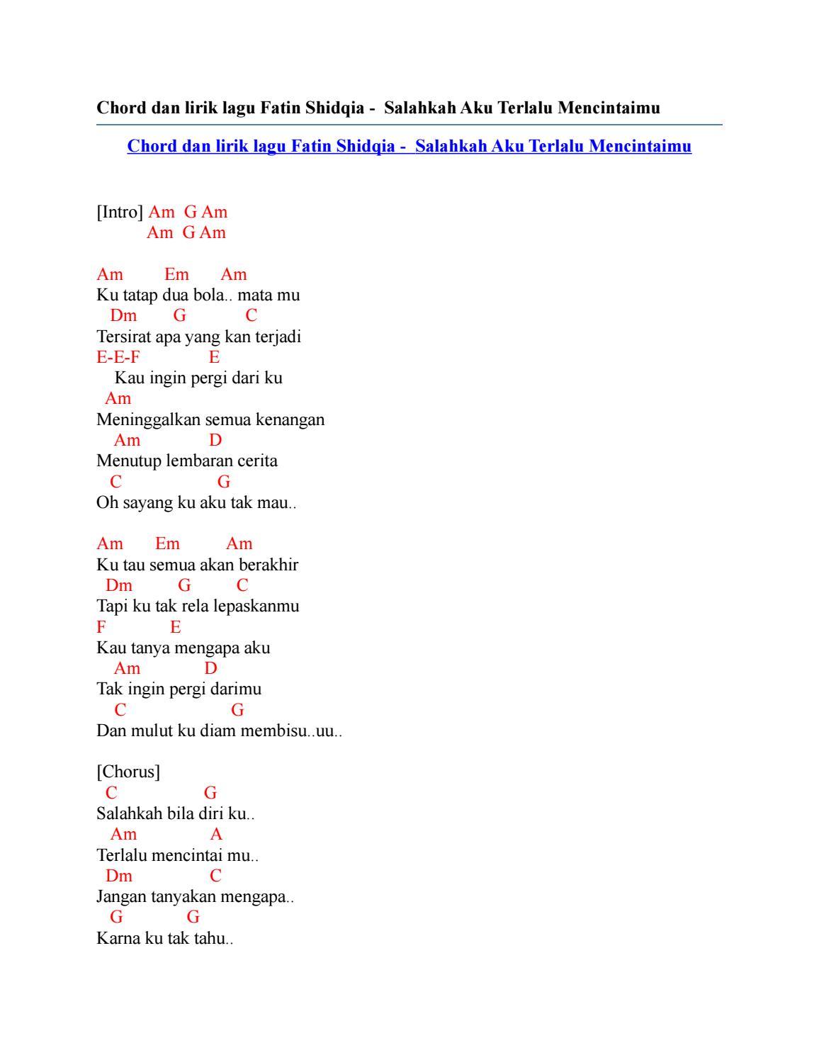 Download Lagu Salahkah Bila Diriku Terlalu Mencintaimu : download, salahkah, diriku, terlalu, mencintaimu, Chord, Lirik, Fatin, Shidqia, Salahkah, Terlalu, Mencintaimu, Issuu