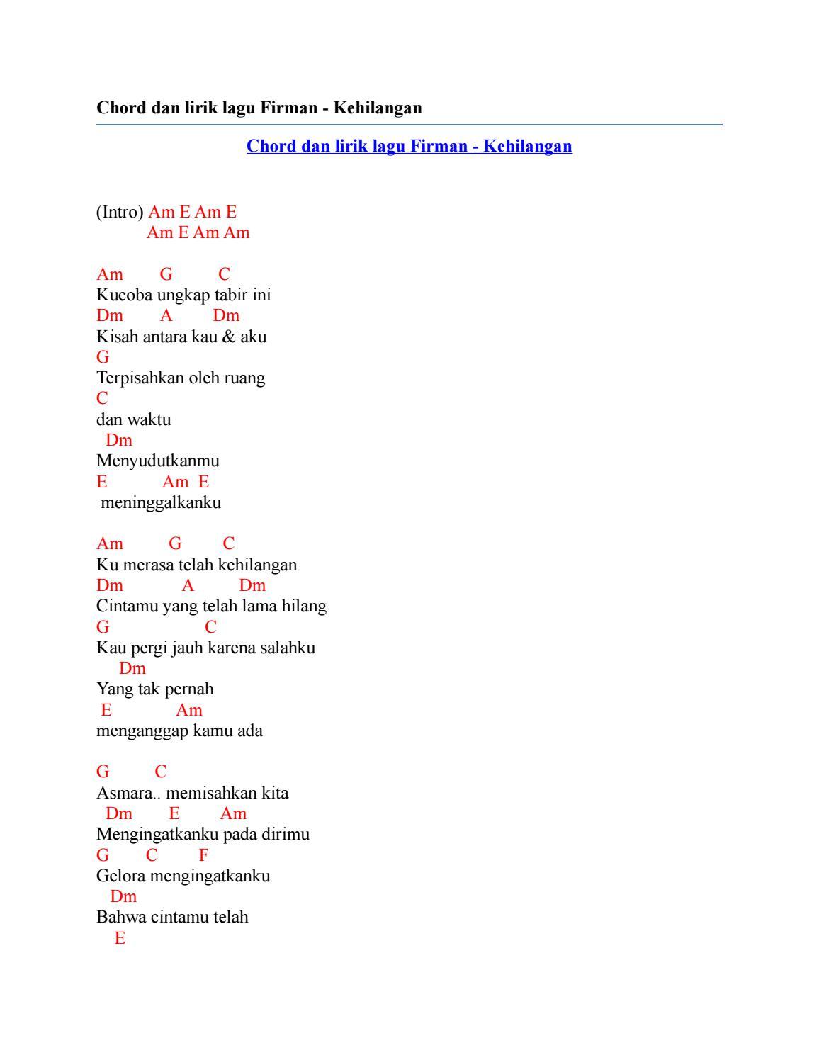 Chord Lagu Firman Kehilangan : chord, firman, kehilangan, Chord, Lirik, Firman, Kehilangan, Issuu