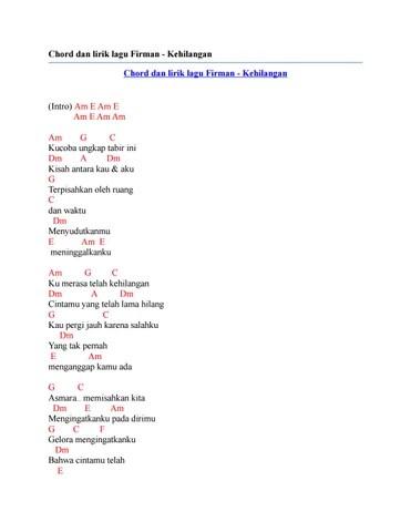Chord Lagu Firman Kehilangan : chord, firman, kehilangan, Lirik, Firman, Kehilangan