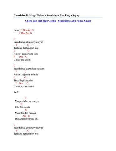 Lirik dan Chord Lagu Seandainya Aku Punya Sayap dari Geisha