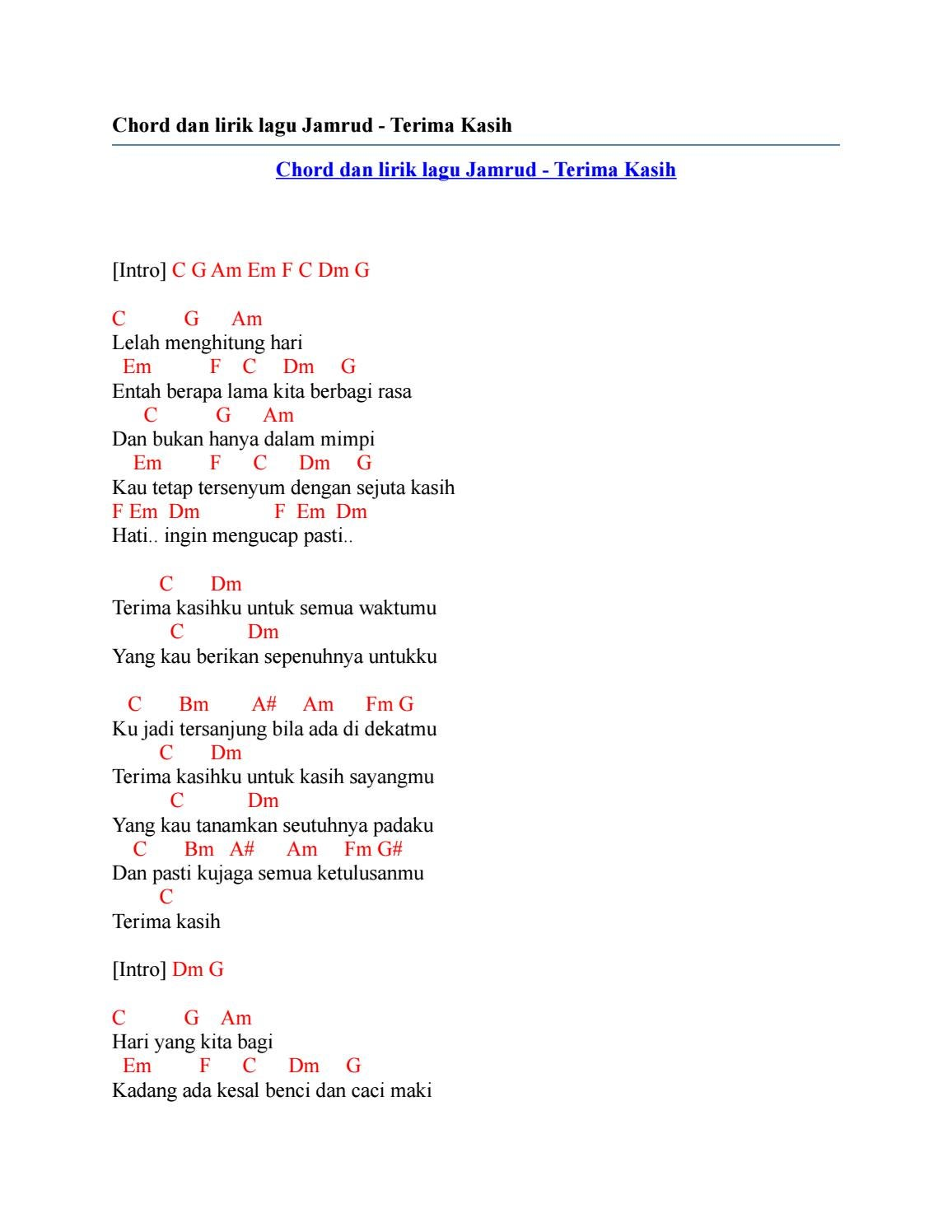Lirik Lagu Menghitung Hari 2 : lirik, menghitung, Kunci, Gitar, Menghitung