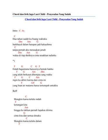 Chord Gitar Last Child Penyesalan Yang Indah : chord, gitar, child, penyesalan, indah, Chord, Lirik, Child, Penyesalan, Indah, Issuu