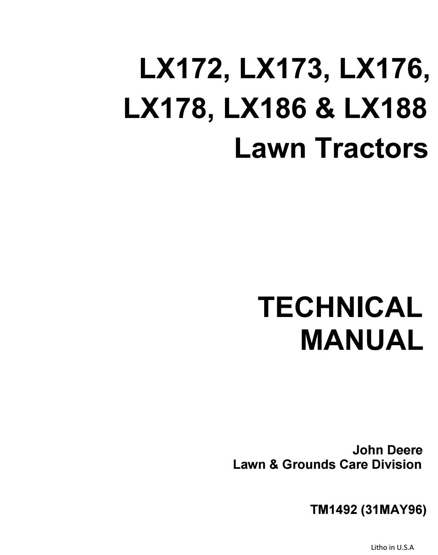 John deere lx178 lawn garden tractor service repair manual