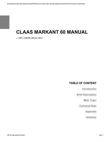 Bestseller: Claas Markant 60 Manual