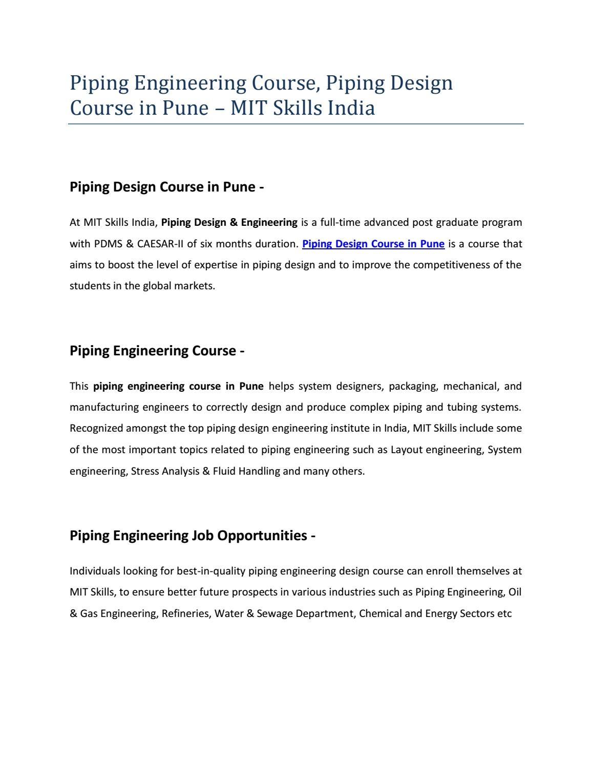hight resolution of piping engineering course piping design course in pune mit skills india by mit skills pune issuu