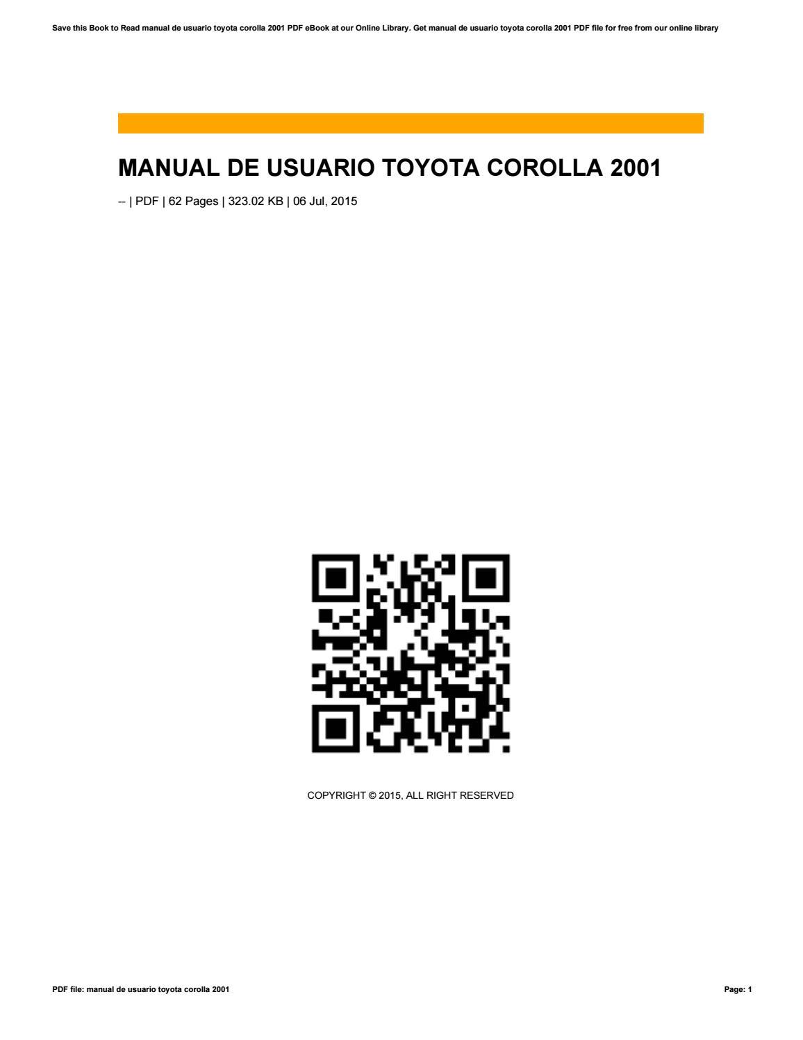 Manual de usuario toyota corolla 2001 by kasfeia89jsdua