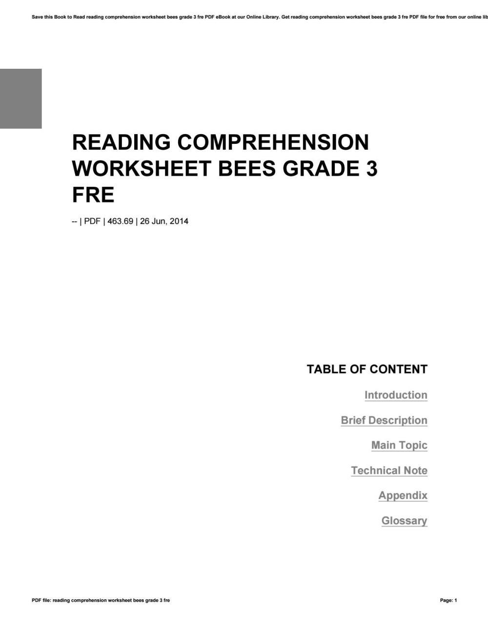 medium resolution of Reading comprehension worksheet bees grade 3 fre by dimas435anggara - issuu