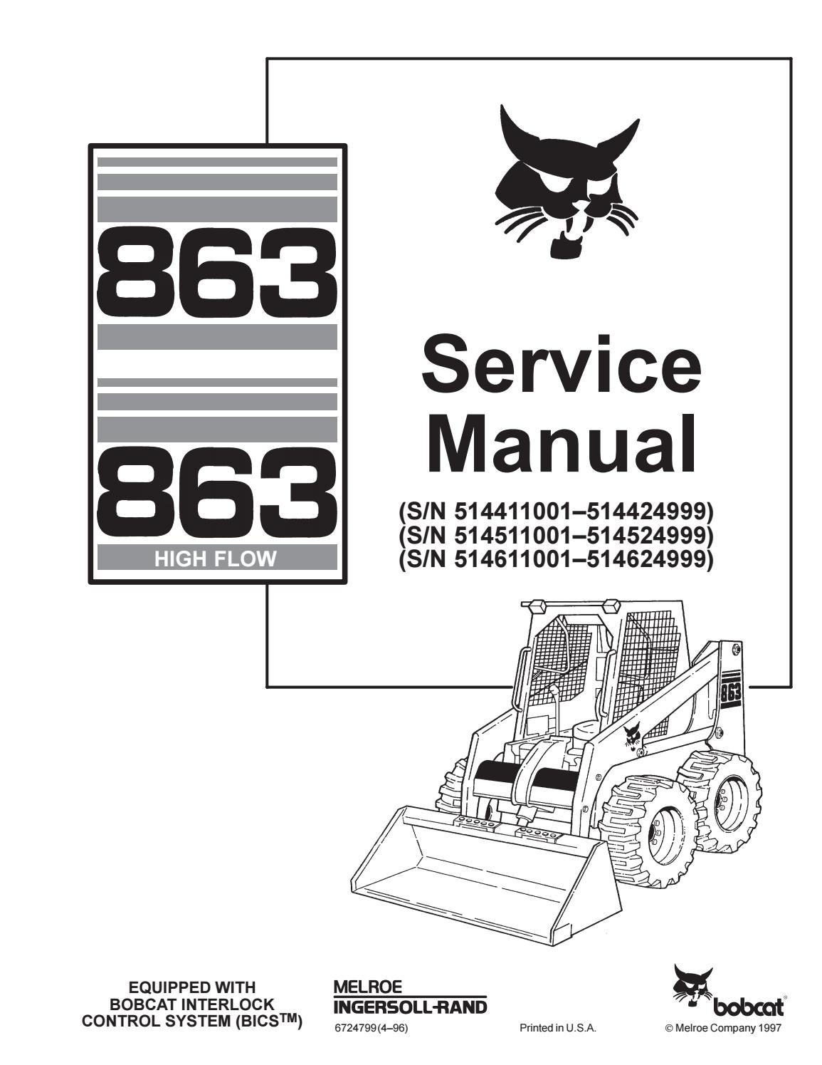 Bobcat 863 skid steer loader service repair manual sn