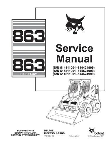 Bobcat 863 skid steer loader service repair manual sn