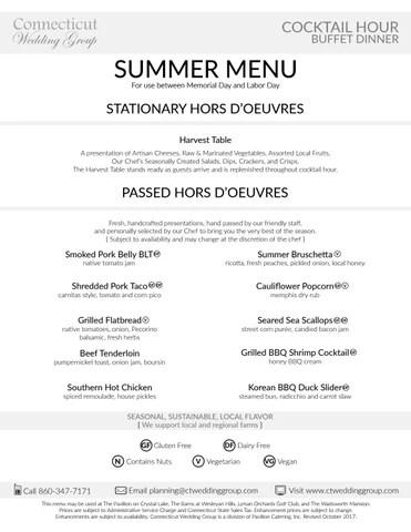 summer buffet menu 2018