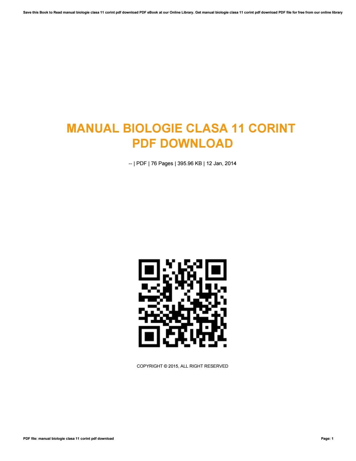 Manual biologie clasa 11 corint pdf download by