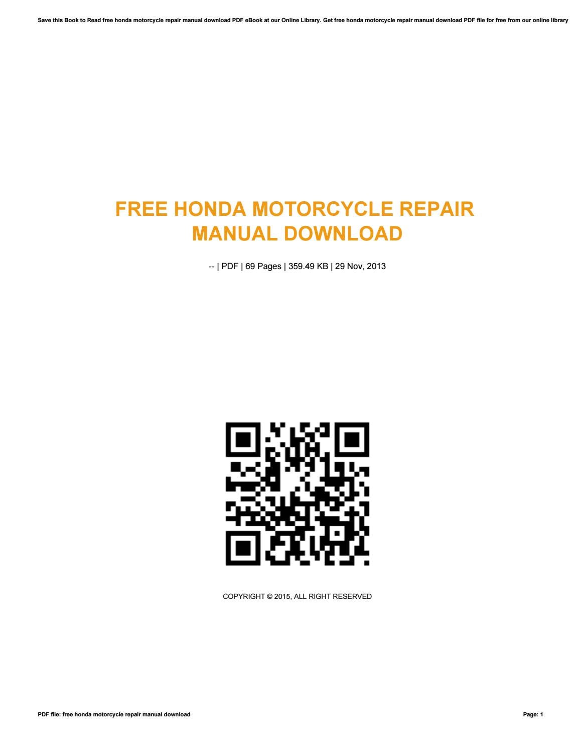 Free honda motorcycle repair manual download by