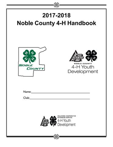 Noble County 4-H Handbook 2017- 2018 by Noble County 4-H