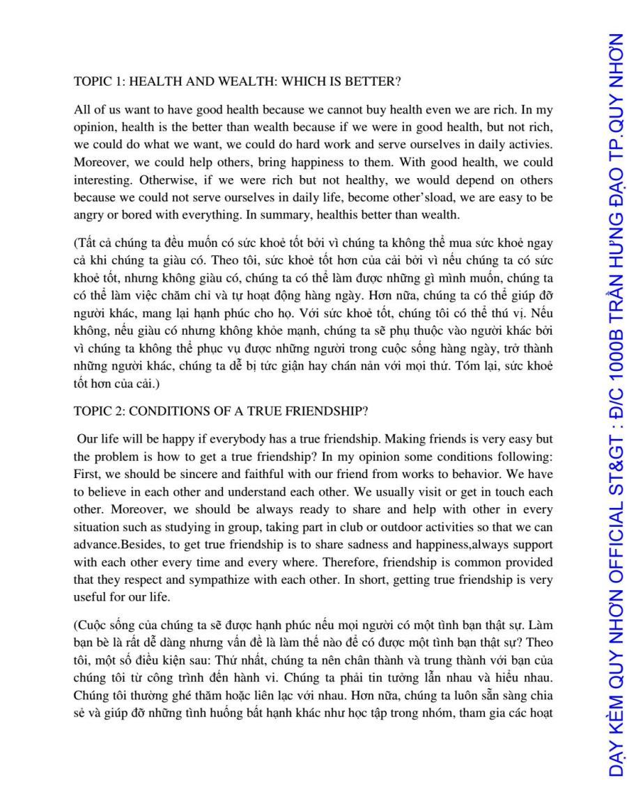 ENGLISH B1 SPEAKING TOPICS - CÁC CHỦ ĐỀ PHẦN THI NÓI ÔN THI TIẾNG ANH B1 - 2017 by Dạy Kèm Quy Nhơn Official - issuu