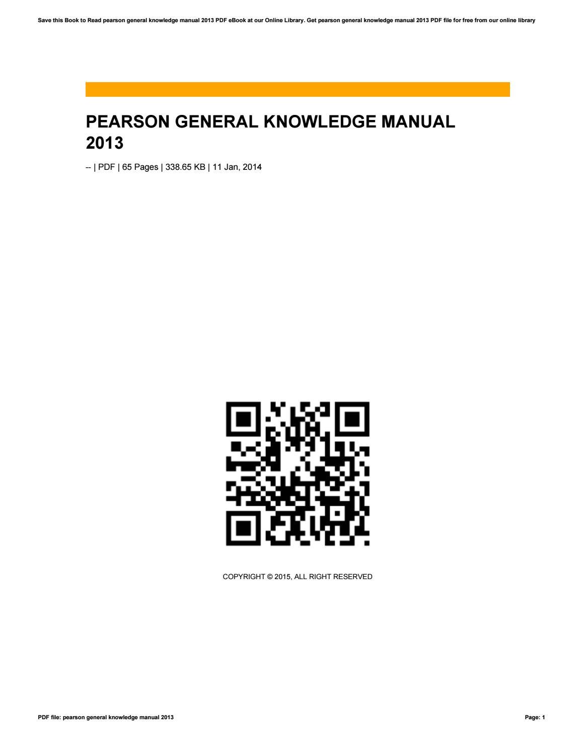 Pearson general knowledge manual 2013 by aditia26herman