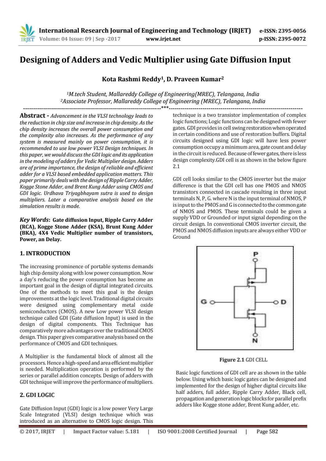 hight resolution of designing of adders and vedic multiplier using gate diffusion input by irjet journal issuu