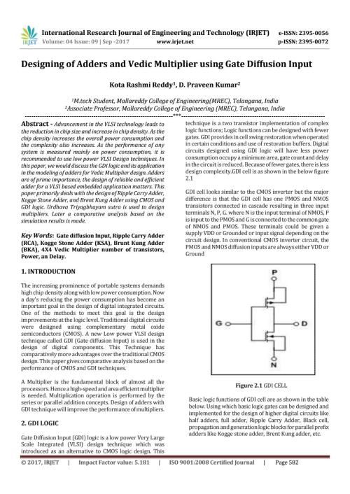small resolution of designing of adders and vedic multiplier using gate diffusion input by irjet journal issuu
